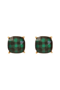A1-3-4-A26678EM-G GREEN FACETED BUFFALO CHECKERED POST EARRINGS/6PAIRS