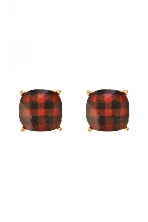 A1-3-4-A26678SI-G RED FACETED BUFFALO CHECKERED POST EARRINGS/6PAIRS