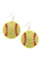 S22-9-2-26692JO-G - SUEDE CRYSTAL SOFTBALL EARRINGS/6PCS