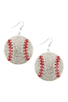 S22-9-2-26692WH-R - SUEDE CRYSTAL BASEBALL EARRINGS/6PCS