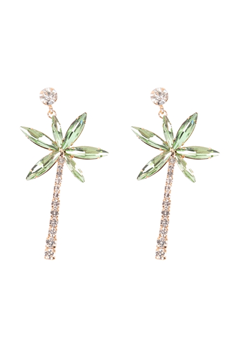 S1-5-1-26718PE-G - TROPICAL PALM TREE RHINESTONE POST EARRINGS/6PCS