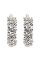 S22-3-3-26727CR-RH - 2 ROW RHINESTONE HUGGIE EARRINGS - SILVER/6PCS