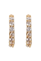 S22-3-2-26728CR-OG - 1 ROW RHINESTONE HUGGIE EARRINGS - GOLD/6PCS