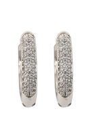 S22-3-2-26731CR-RH - 0.65 PAVE HUGGIE HOOP EARRINGS - SILVER/6PCS