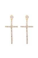 S22-3-2-26795CR-OG - CROSS RHINESTONE POST DANGLING EARRINGS - GOLD/6PCS
