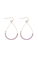 A3-1-3-26804CYO-MG- GLASS BEAD TEARDROP EARRINGS-LAVENDER/6PCS