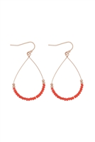 A3-1-3-26804HY-MG- GLASS BEAD TEARDROP EARRINGS-RED/6PCS