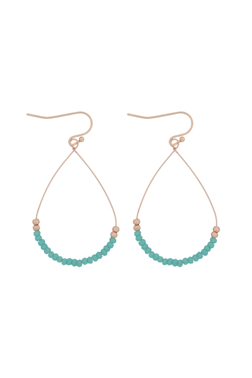 A3-1-3-26804MAL-MG- GLASS BEAD TEARDROP EARRINGS-TURQUOISE/6PCS