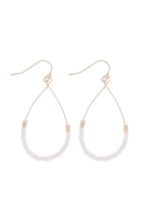 A3-1-3-26804WO-MG- GLASS BEAD TEARDROP EARRINGS-WHITE/6PCS