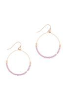 A3-1-3-26805CY0-MG- GLASS BEAD ROUND EARRINGS-LIGHT LAVENDER/6PCS