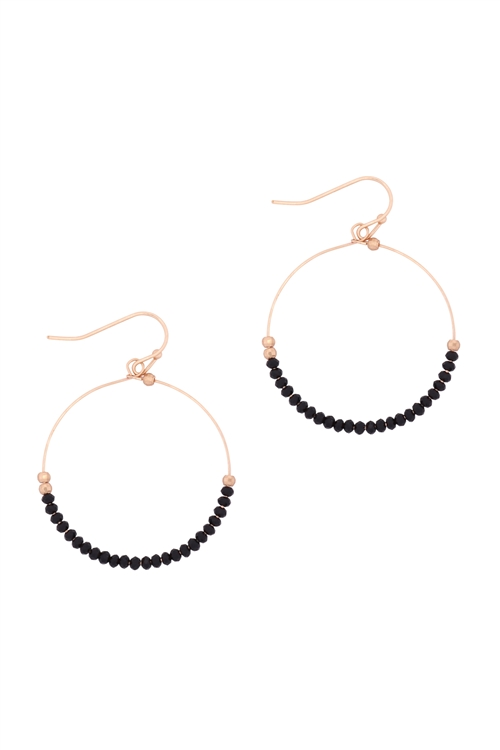 A1-1-1-26805JT-MG- GLASS BEAD ROUND EARRINGS-JET BLACK/6PCS