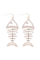 S24-7-5-26836CR-G - FISH BONE RHINESTONE DANGLING EARRINGS - CRYSTAL GOLD/6PCS