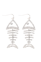 S24-7-5-6836CR-S - FISH BONE RHINESTONE DANGLING EARRINGS - CRYSTAL SILVER/6PCS