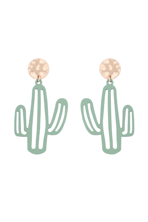 S1-2-5-26852PE-WG - CACTUS FILIGREE DROP POST EARRINGS - MATTE GOLD GREEN/6PCS