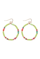 SA3-1-3-26876PE-G- 35mm RUBBER DISC DROP EARRINGS-GREEN/6PCS