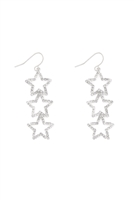 SA3-1-3-26905CR-S- TRIPLE STAR SHAPE EARRINGS-SILVER/6PCS