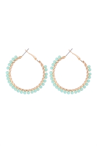 S1-3-3-26923CH-G - WIRED GLASS BEAD HOOP EARRINGS - MINT GOLD/6PCS