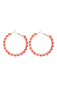 S1-2-5-26924HY-G - WIRED GLASS BEADS WRAP HOOP EARRINGS - ORANGE/6PCS
