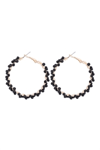 S1-2-5-26924JT-G - WIRED GLASS BEADS WRAP HOOP EARRINGS - BLACK/6PCS