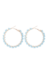 S1-2-5-26924MG-G - WIRED GLASS BEADS WRAP HOOP EARRINGS - BLUE/6PCS