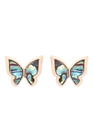 SA3-1-3-26978VMM-G- ABALONE BUTTERFLY POST EARRINGS-GOLD/6PCS