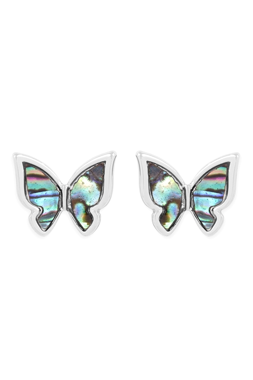SA3-1-3-26978VMMR- ABALONE BUTTERFLY POST EARRINGS-SILVER/6PCS