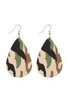 S24-7-5-27044OL-G - CAMOUFLAGE PRINTED TEARDROP HOOK EARRINGS - OLIVE GOLD/6PCS