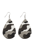 S24-7-5-27044WH-R - CAMOUFLAGE PRINTED TEARDROP HOOK EARRINGS - WHITE SILVER/6PCS
