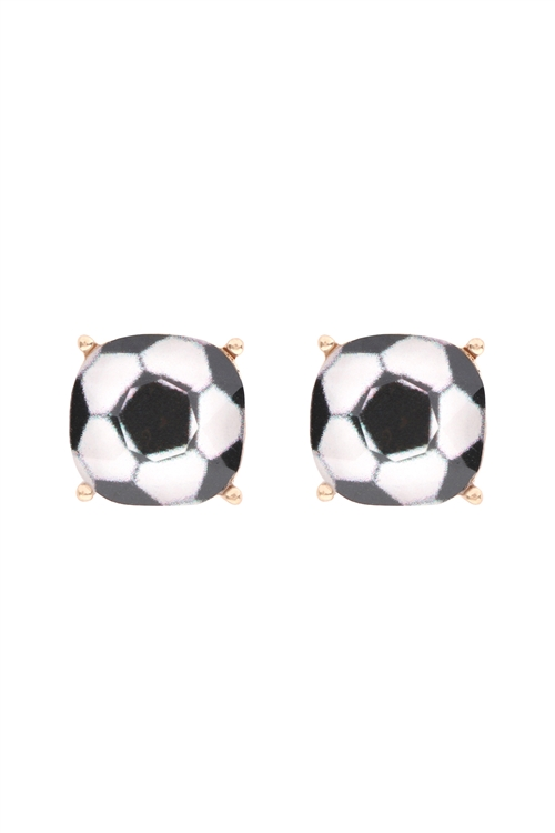 S1-1-1-27054JT-G- SPORTS CUSHION CUT  SOCCER STUD EARRINGS - GOLD/6PCS