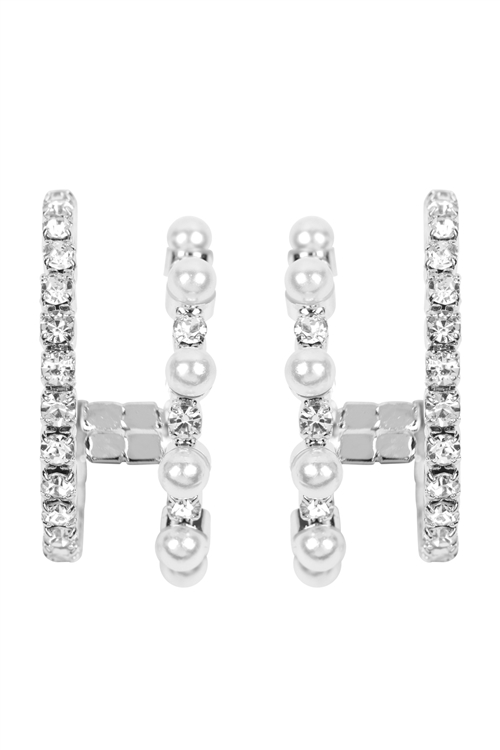 A2-1-4-27217WH-S- PEARL STONE DOUBLE HOOP EARRINGS-WHITE SILVER/6PCS