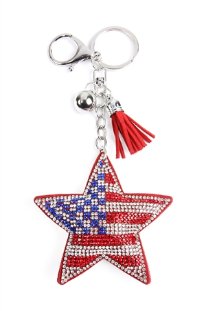 S22-6-4-31345LSI-S - USA FLAG STAR KEYCHAIN/6PCS