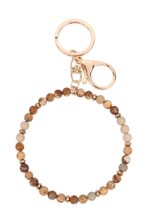 S1-2-5-31534LCT-G - 6MM NATURAL BEADS WRISTLET KEYCHAIN - BROWN/6PCS