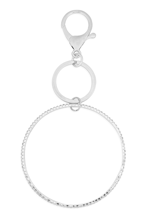 S1-2-5-31535-2CR-S - 2 LINE BANGLE KEYCHAIN - CRYSTAL SILVER/6PCS