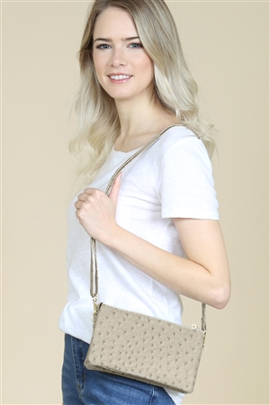 S24-4-4-7013-35A-LGY - FAUX CROSSBODY WRISTLET BAG - LIGHT GRAY/3PCS