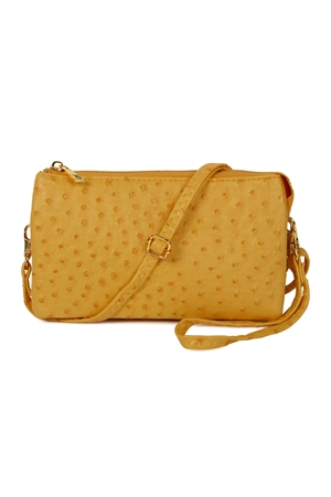 S24-4-4-7013-35A-YE - FAUX CROSSBODY WRISTLET BAG - YELLOW/3PCS
