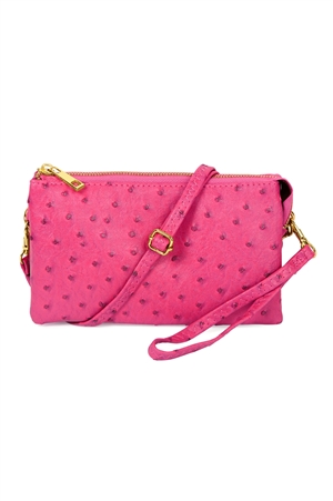 S24-4-4-7013-35AHPK - FAUX CROSSBODY WRISTLET BAG - HOT PINK/3PCS