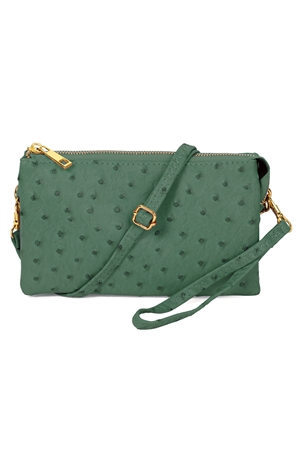S24-4-4-7013-35DGN - FAUX CROSSBODY WRISTLET BAG - DARK GREEN /3PCS