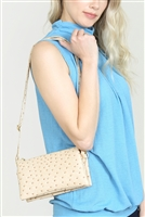 S24-4-4-7013-35LBG - FAUX CROSSBODY WRISTLET BAG - LIGHT BEIGE/3PCS
