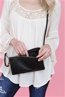 S24-4-3-7013BK -FAUX CROSSBODY WRISTLET BAG - BLACK/3PCS
