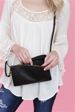 S24-4-2/S24-3-2-7013BK -FAUX CROSSBODY WRISTLET BAG - BLACK/3PCS