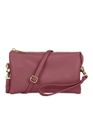 S24-3-2-7013BU -FAUX CROSSBODY WRISTLET BAG -BURGUNDY/3PCS
