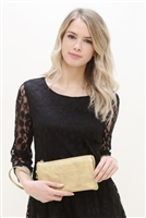 S18-4-1 -7013GD -FAUX CROSSBODY WRISTLET BAG -GOLD/3PCS