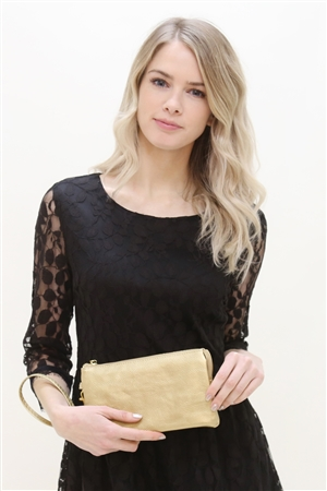 S24-4-2/S24-3-2/S1 - P14-7013GD -FAUX CROSSBODY WRISTLET BAG -GOLD/3PCS