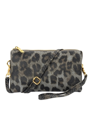 S24-4-3-7013GREY LEOPARD - FAUX CROSSBODY WRISTLET BAG - LEOPARD GRAY/3PCS