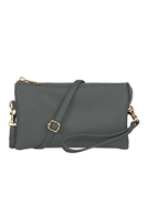 S24-4-3-7013GY - FAUX CROSSBODY WRISTLET BAG - GRAY/3PCS
