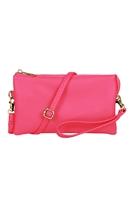 S24-3-2-7013HPK -FAUX CROSSBODY WRISTLET BAG - FUCHSIA/3PCS