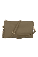 S24-4-3-7013KH - FAUX CROSSBODY WRISTLET BAG - KHAKI/3PCS