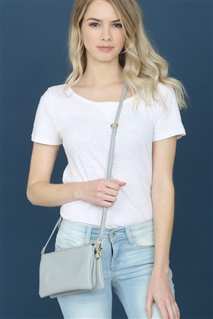 S24-4-2-7013LGY -FAUX CROSSBODY WRISTLET BAG -LIGHT GRAY/3PCS