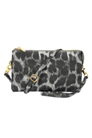 S24-4-2-7013LGYLEOPARD - FAUX CROSSBODY WRISTLET BAG - LIGHT GRAY LEOPARD/3PCS