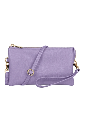 S24-4-2/S24-3-2-7013LPP - FAUX CROSSBODY WRISTLET BAG - LIGHT PURPLE/3PCS